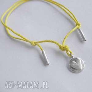 bransoletki serduszko bransoletka, srebro, zmatowione, sznurek, unikalny prezent