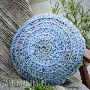 poduszka niebiesko kremowa okrągła, na szydełku, scandi, boho, wełna poduszki