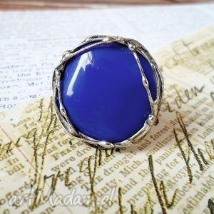 kobaltowe gniazdko - pierścionek, kobaltowy, granatowy, niebieski, cyna, szkło