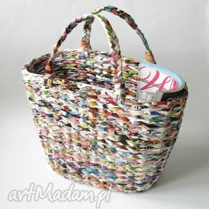 handmade kolorowy koszyk/ torba / gazetnik