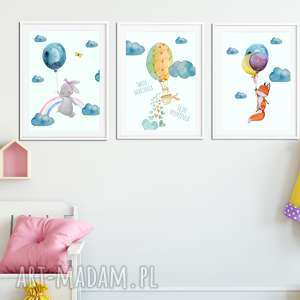 Tryptyk TWOJE MARZENIA A4, balony, baloniki, chmura, tęcza, balon, marzenia