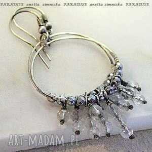 Srebro kolczyki fasetowane kryształy anetta zimnicka kryształ