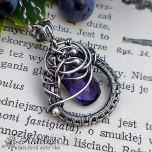 misterny naszyjnik wire wrapping z fioletowym kwarcem, wrapping, srebrny