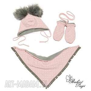 czapki komplet zimowy, podszyty polarem - 3 częściowy czapka chusta/komin rękawiczki