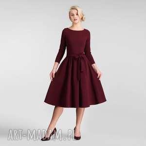 sukienki marie 3/4 midi bordo, sukienka na jesień, sukienka