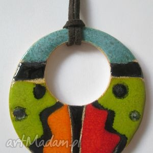 maxi wisior, ceramiczny, aztecki, etno, etniczny, naturalny, kolorowy, świąteczny