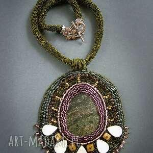 naszyjnik - złota zieleń - naszyjnik, kolia, koraliki, minerał, wieczorowy