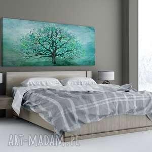 nowoczesny obraz drukowany na płótnie z dzrzewo w turkusie 150x60cm 02328