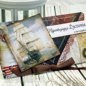 kopertówka męska- żaglowiec, morze, dla, mężczyzny, prezent