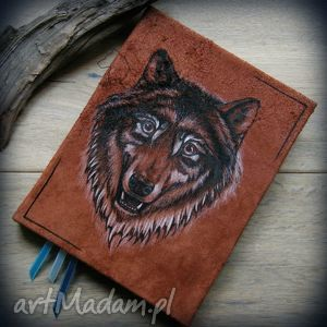 Notes A5 ze skórzaną twardą okładką Wilk - ręcznie robiony i malowany, wilk, wilki