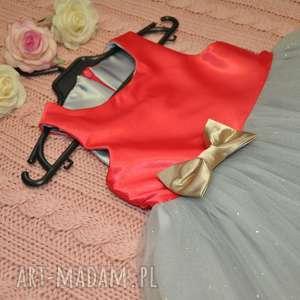 Balowa sukienka dla dziewczynki 104/110, tiul, brokat, kokarda, rozkloszowana