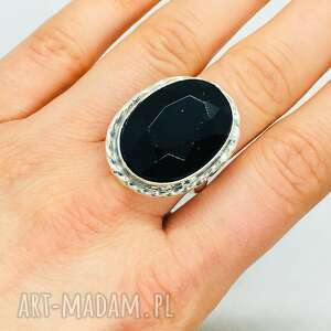 mychoice unikatowy pierścionek z onyksem fasetowanym srebro 925