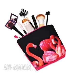 handmade kosmetyczki kosmetyczka flamingi, saszetka flaming, wodoodporna kosmetyczka z flamingami