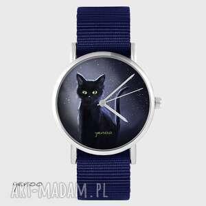 hand-made zegarki zegarek yenoo - czarny kot, noc granatowy, nato