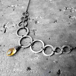 handmade naszyjniki srebro i cytryn - geometryczny naszyjnik