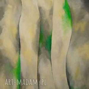 Obraz na płótnie - ABSTRAKCJA W SZAROŚCIACH I ZIELENIACH 50/70 cm, abstrakcja