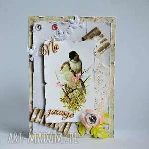 kartka - na zawsze - ślub, zaręczyny, rocznica, vintage, ptaki, gniazdko