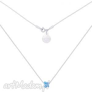 Srebrny naszyjnik zdobiony niebieskim motylkiem SWAROVSKI® CRYSTAL,