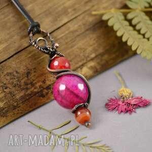pink love - naszyjnik kolorowy z agatami, naszyjnik-z-wisiorem, boho-naszyjnik