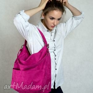 Duża torba worek na ramię w kolorze fuksji torebki bags