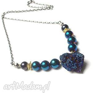 rozgwieżdżone niebo - naszyjnik - agat, druza, perły, heamtyty, srebro
