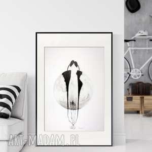 plakaty grafika 50x70 cm wykonana ręcznie, abstrakcja, elegancki minimalizm, obraz