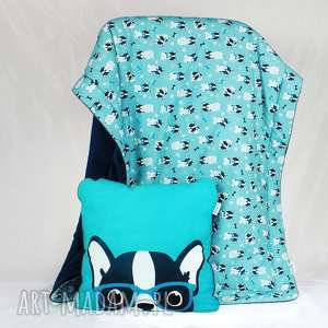 zestaw kocyk poduszka buldog - poduszka, kocyk, pościel, buldog, przedszkolak, spanie