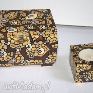 szkatułka i świecznik, szkatułka, rękodzeło