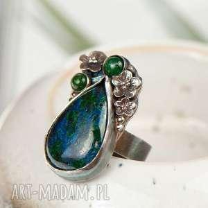 Prezent Pierścionek srebrny z chryzokolą a720, pierścionek-malachit