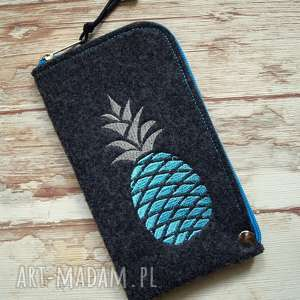Prezent Filcowe etui na telefon - ananas, smartfon, pokrowiec, pineapple, haft