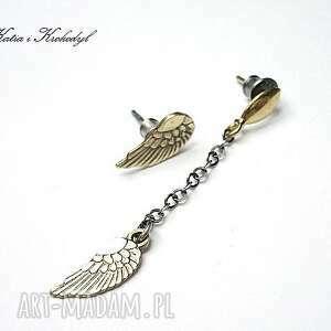 angel gold vol 2 - kolczyki, srebro, mosiądz, asymetryczne, skrzydełka kolczyki