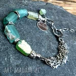 treendy bransoletka srebrna ze szkłem afgańskim, szkło afgańskie, antyczne