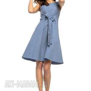 Letnia sukienka wiązana z imitacji lnu, T280, jasnoniebieski, letnia,