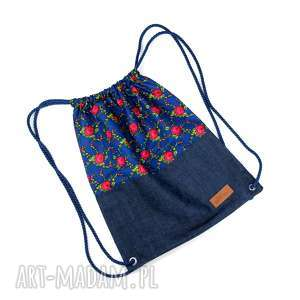 Worek plecak folkowy prezent godeco worek, plecak, folk, róże,