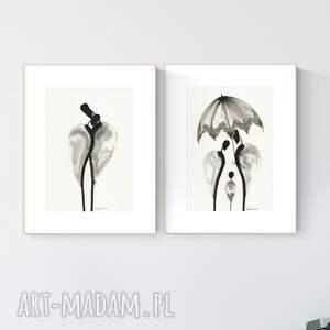 zestaw 2 grafik a4 wykonanych ręcznie, grafika czarno-biała, abstrakcja, 2971098