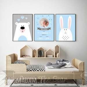 Niebieska METRYCZKA ze zdjęciem. Zestaw A4., metryczka, niebieski, miś, królik
