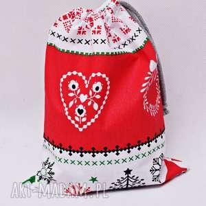 dekoracje worek na prezenty prezentowy świąteczny sweterek czerwony