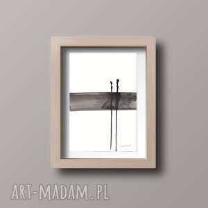 obrazek A4 malowany ręcznie, minimalizm, abstrakcja czarno-biała, minimalizm
