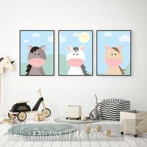 zestaw plakatÓw dla dzieci koniki a4 - konie, koń, plakat, obrazek, zestaw