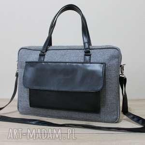 torba na laptop - tkanina grafit i skóra czarna, elegancka, pakowna, laptop, święta