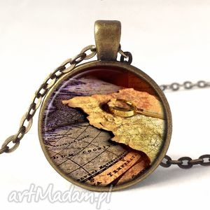 ręcznie wykonane naszyjniki stare mapy - medalion z łańcuszkiem