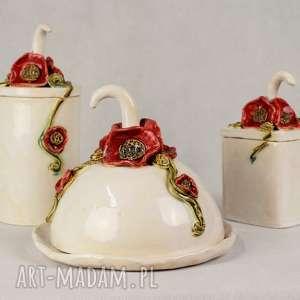 ceramika zestaw do kuchni z makami, kuchni, maselniczka