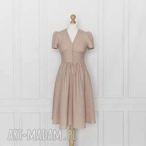 sukienki rosalia sukienka lniana, różowa, sukienka, marszczona, midi