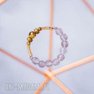 WHW High Ring - Elegant Girl, hematyt, agat, agat-szary, fasetowany, pierścionek