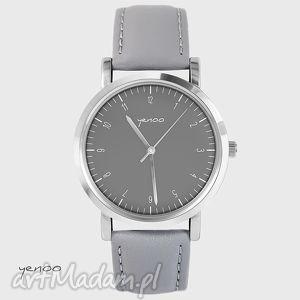 handmade zegarki zegarek, bransoletka - simple elegance - szary, skórzany