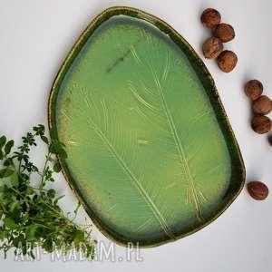 Patera ceramiczna talerz dekoracyjny liście ceramika tyka