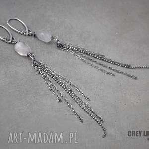 kolczyki długie z kunzytem, srebro, kunzyt, długie, wiszące