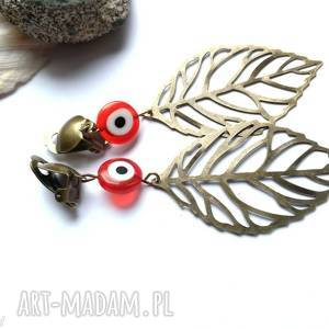 Klipsy liście oko proroka etno handmade folk boho ruda klara
