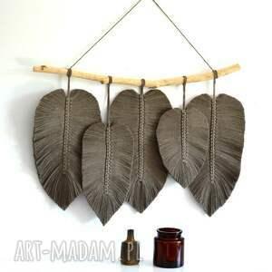 handmade dekoracje duże pióra makrama