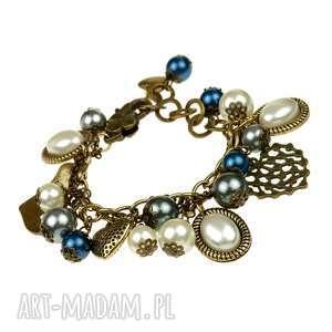 bransoletka z serduszkami i perełkami b531 - bransoletka z zawies, branolsetka